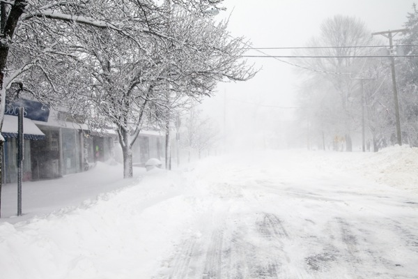 A deserted Main Street, during the Blizzard of 2013. Guilford got 34 inches of snow. © Jake Wyman/evolveimages.com